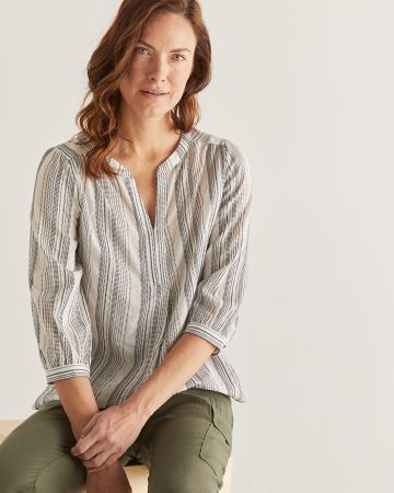 Split Neck Stripe Peasant Blouse