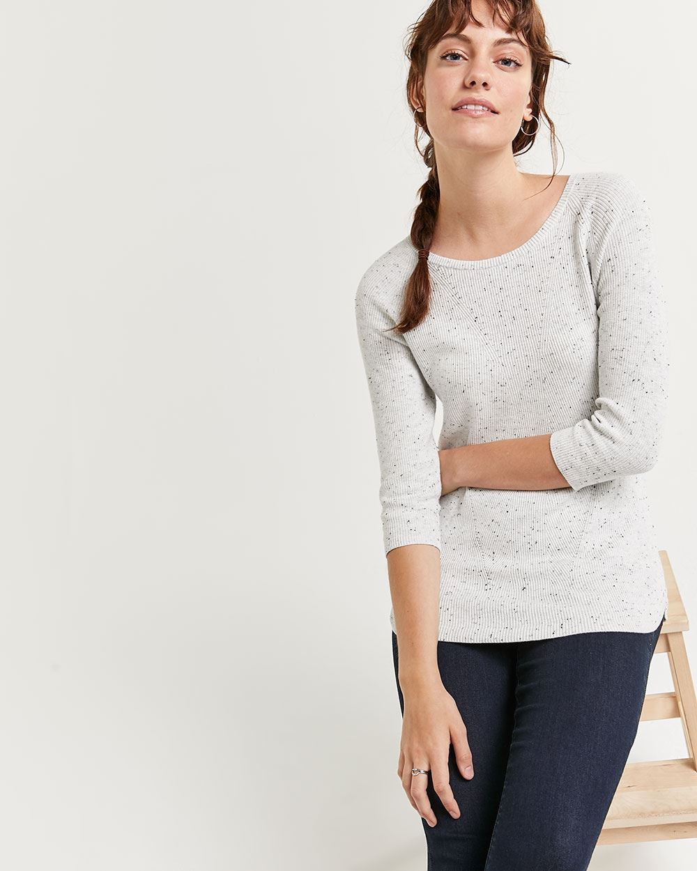 Nep Yarn 3/4 Sleeve Boat Neck Cotton Sweater