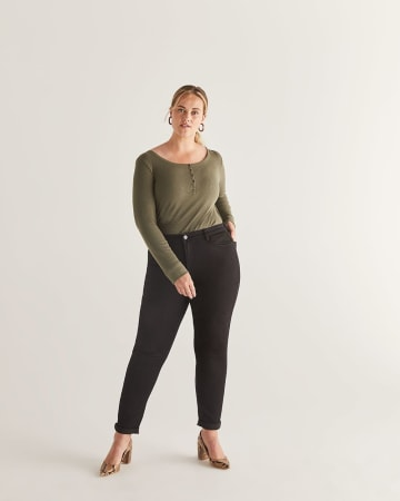 The Signature Soft High Waist Skinny Black Jeans - Petite
