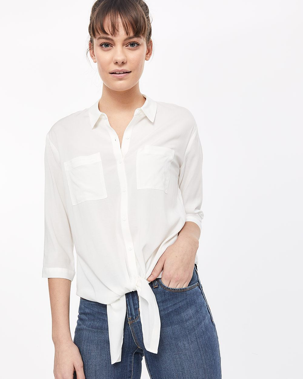 3/4 Sleeve Tie-Front Blouse
