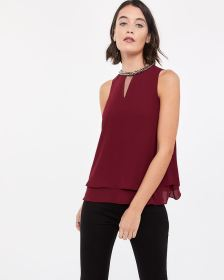 Sleeveless Beaded Blouse