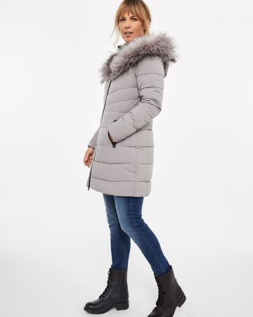 Faux Down Stretch Hooded Coat