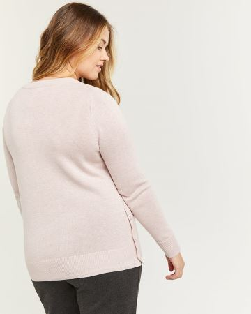 Long Sleeve Sweater with Side Buttons