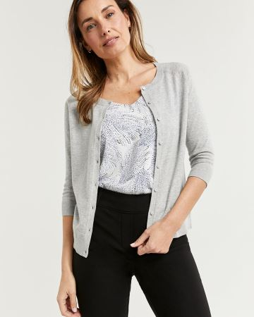 3/4 Raglan Sleeve Cotton Cardigan R Essentials
