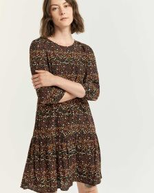 Printed Shift Dress with Drop Flounce