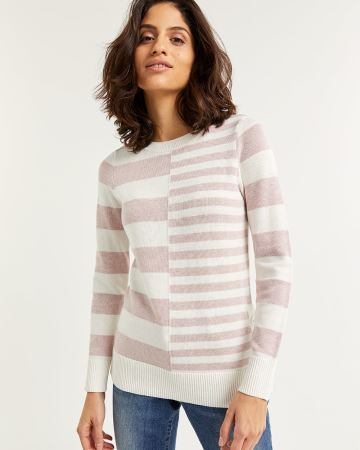 Long Sleeve Striped Sweater with Side Buttons