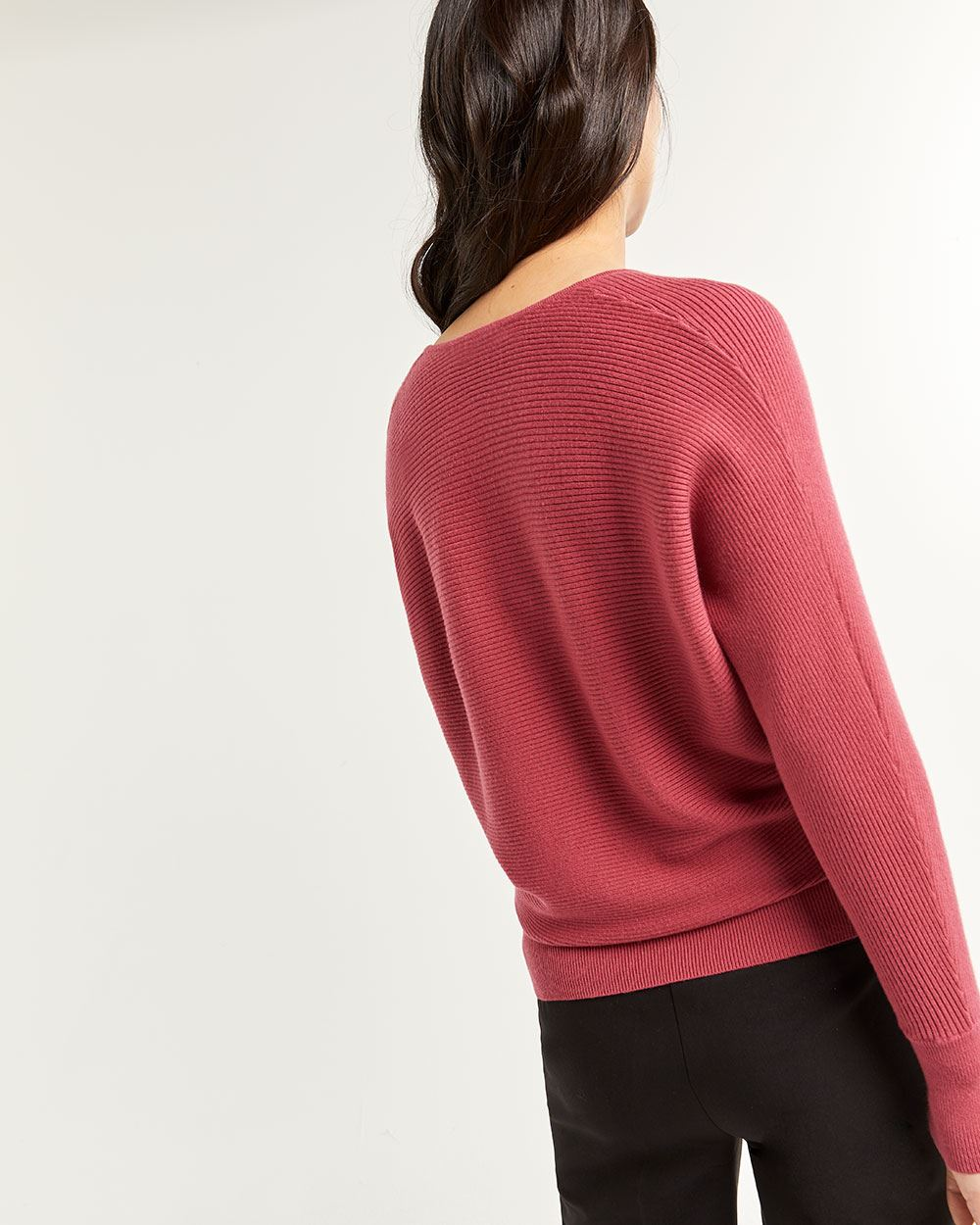 V-Neck Sweater with Dolman Sleeves