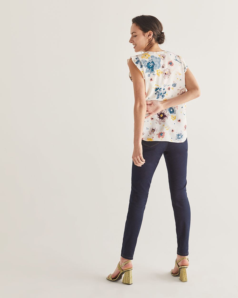 Flutter Sleeve Printed Blouse with Buttons