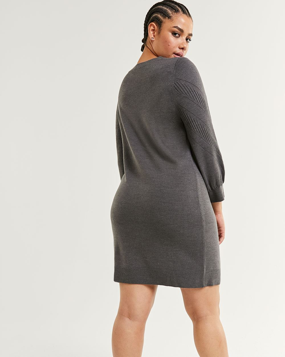 3/4 Balloon Sleeve Pointelle Sweater Dress