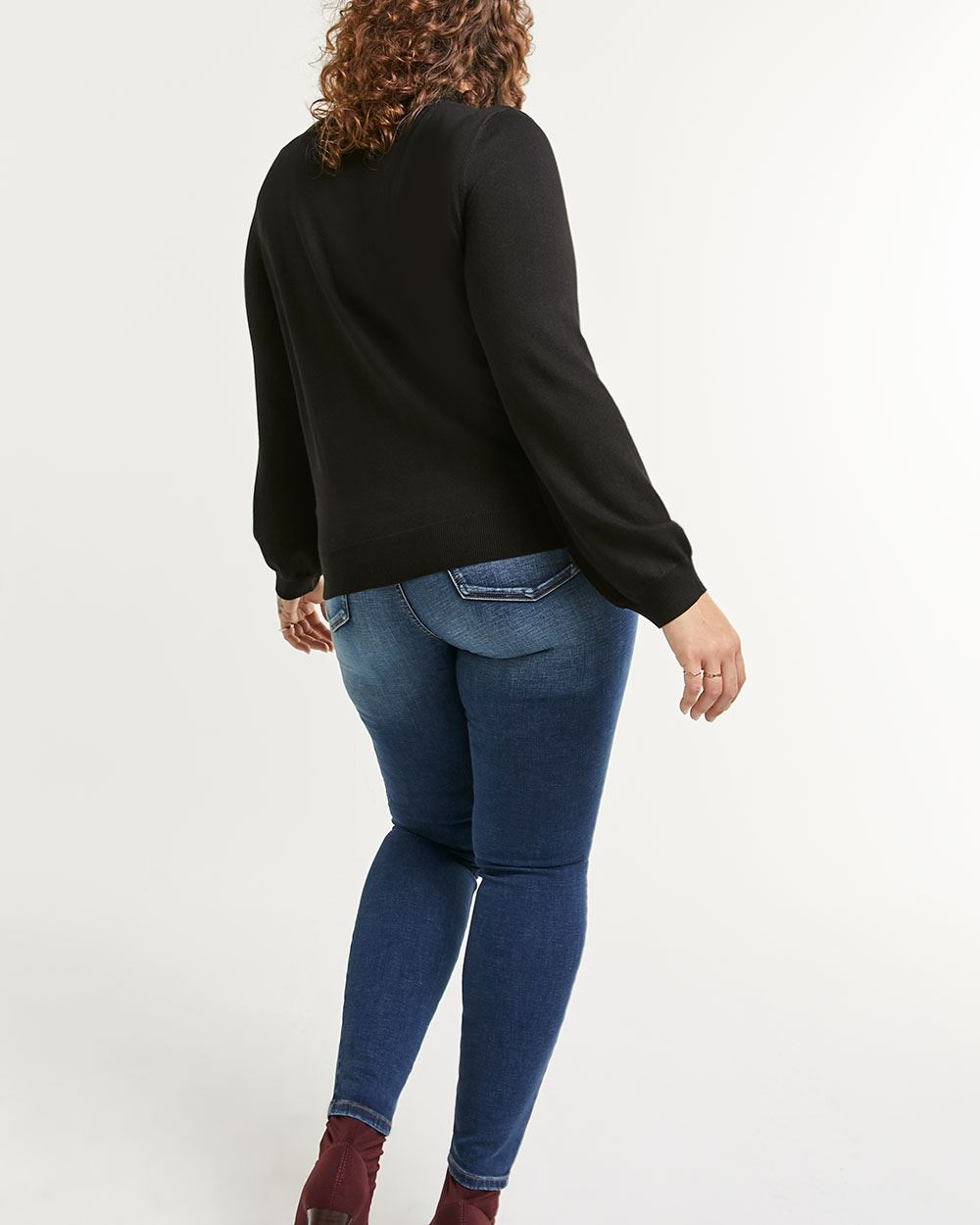Long Balloon Sleeve V Cut-Out Sweater