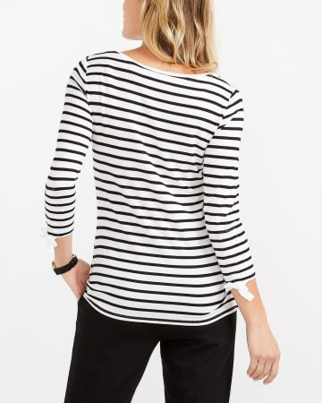 ¾ Ruched Sleeve Printed Top