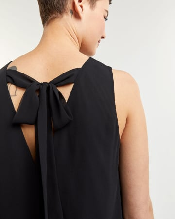 Sleeveless Swing with Back-Tie Detail