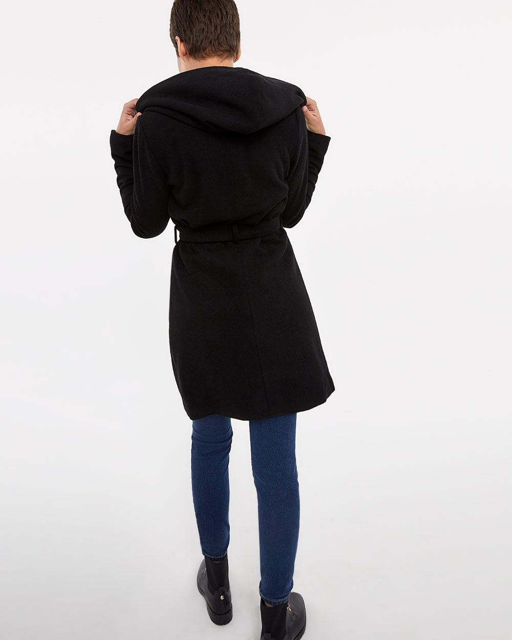 Waterfall Collar Hooded Coat