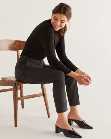 The New Classic Straight Pants with Side Metal Buckles - Petite