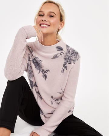 Mock Neck Printed Sweater