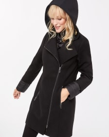 Mix Media Hooded Coat
