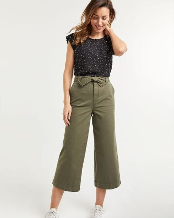 Wide Cropped Chino Pants with Sash