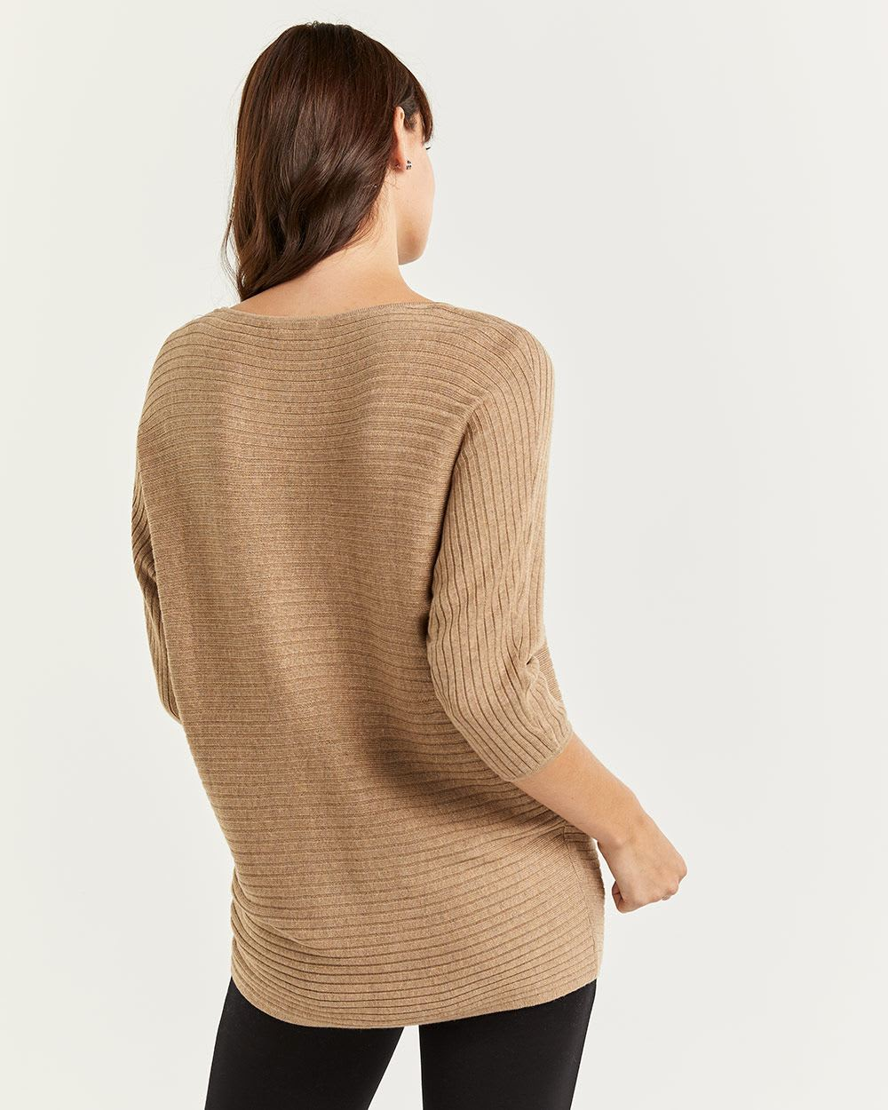 Boat Neck Ribbed Sweater