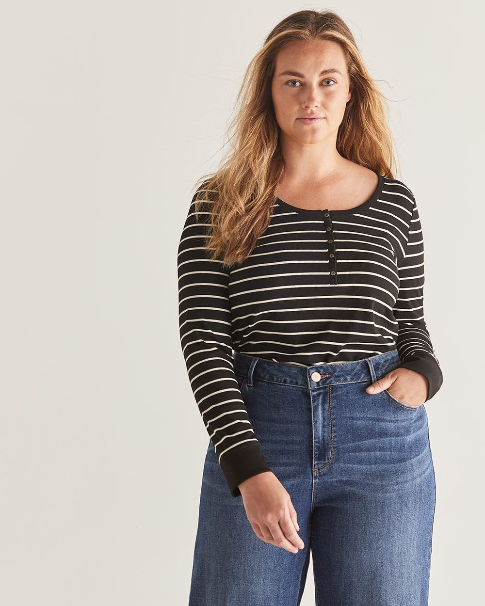 Long Sleeve Striped Henley Rib Tee