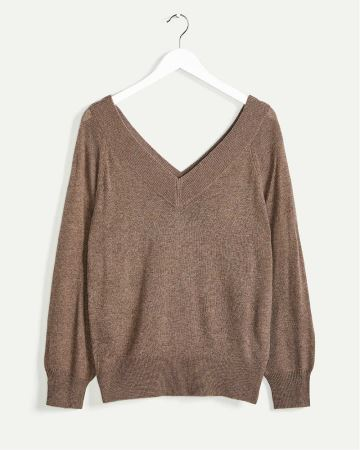 Long Sleeve V-Neck Cashmere Blend Sweater