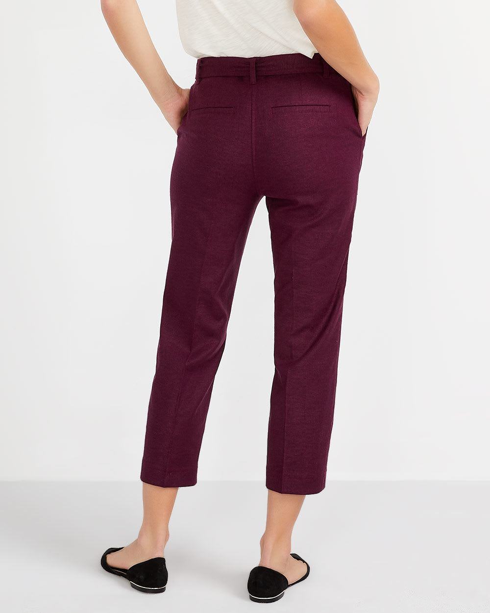 Linen Blend Crop Pants with Sash