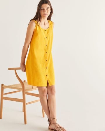Button-Down Sleeveless Shift Dress