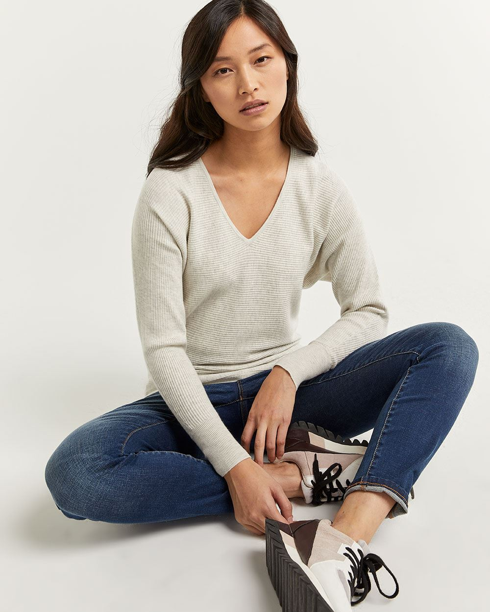 V-Neck Sweater with Dolman Sleeves - Petite