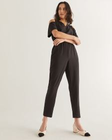 Cold-Shoulder Flutter Sleeve Black Jumpsuit - Petite