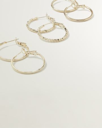 3-Pair Set of Hoop Earrings