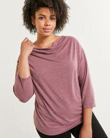 3/4 Sleeve Draped Neck Tee