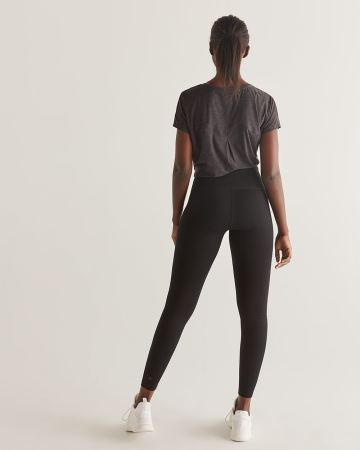 Hyba Black Cotton Namaste Yoga Leggings