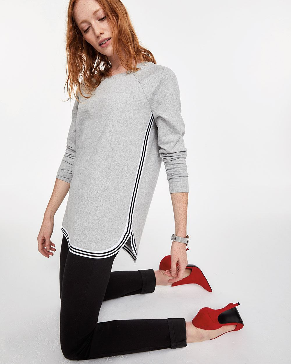 Long Sleeve Contrasting Tape Top