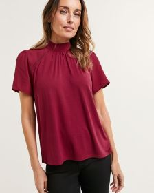 Short Flutter Sleeve Mock Neck Mix Media Top