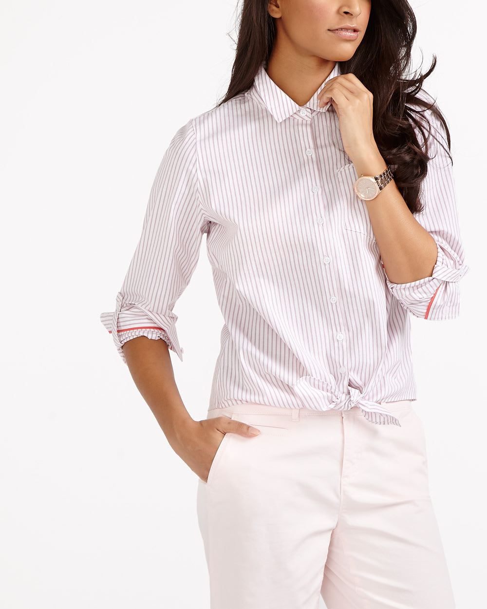 81379435781b1 Striped Tie Front Blouse