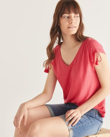 Short Sleeve Tee with Tassels