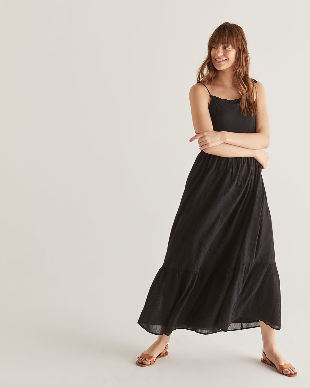 Black Cotton Tiered Maxi Dress