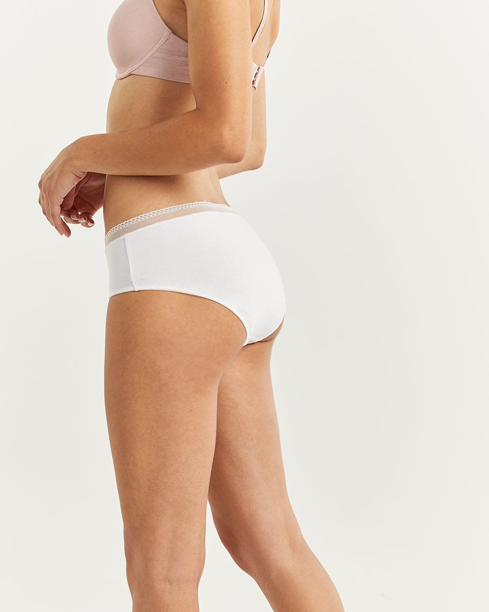 Cotton Hipster Panty with Mesh & Lace