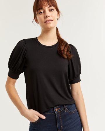 Puffed Elbow Sleeve Top