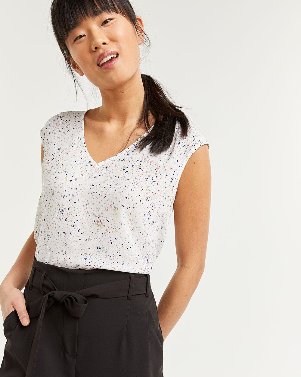 Short Sleeve Printed Blouse with Pleats