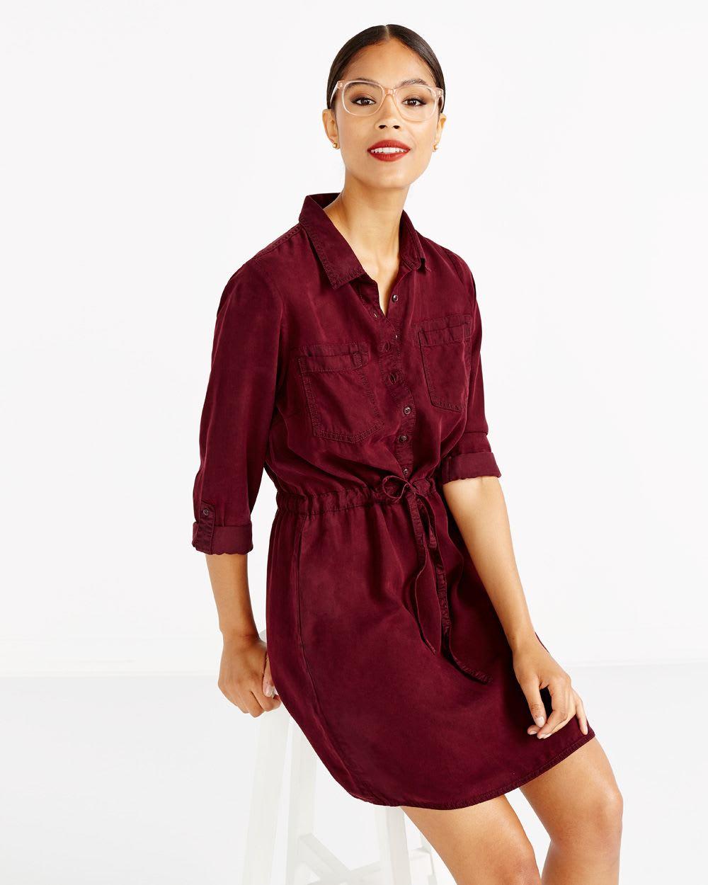 9a667fb46c1 Drawstring Solid Shirt Dress