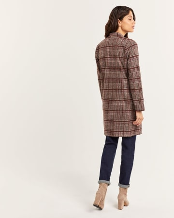 Notched Collar Jacquard Coatigan