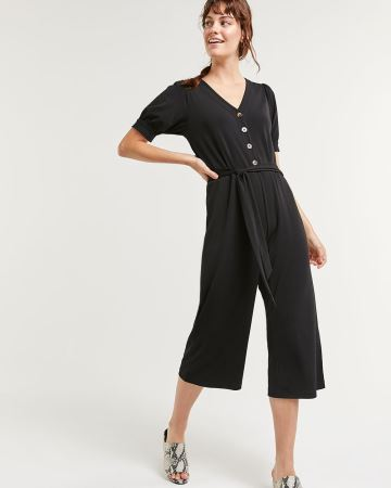 Wide Leg Short Sleeve Jumpsuit with Sash