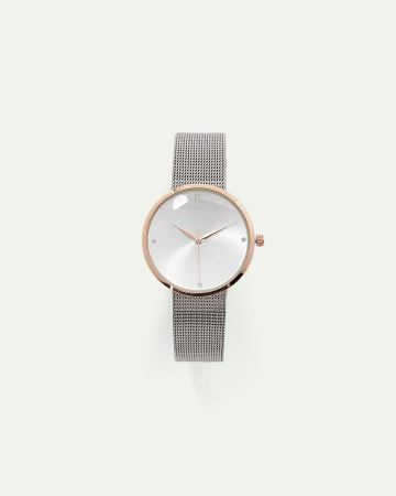 Gold and Silver Watch with Mesh Band