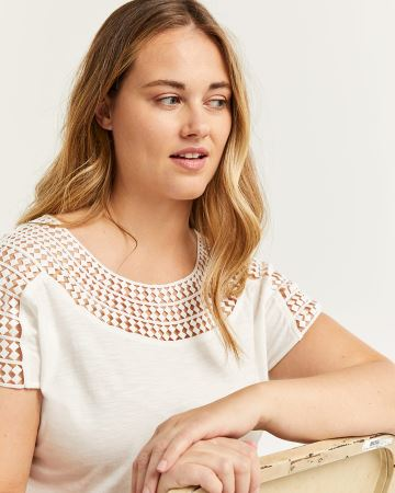 Short Sleeve Crochet Insertion Tee