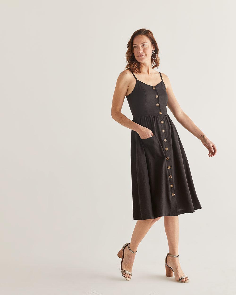 761be0a60e6 Linen-Blend Fit   Flare Midi Dress - Petite