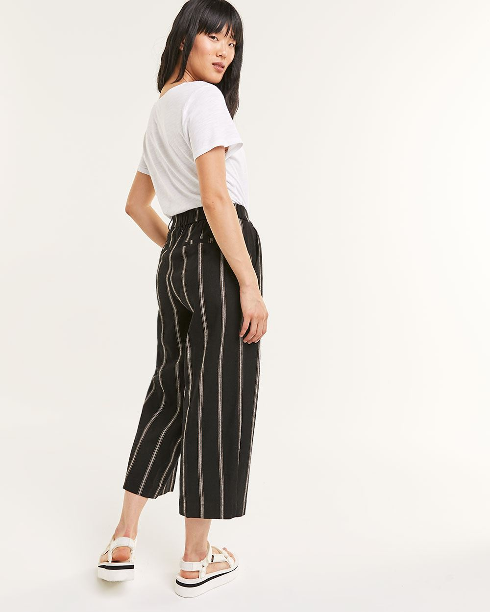 Linen Blend Wide Cropped Stripe Pants