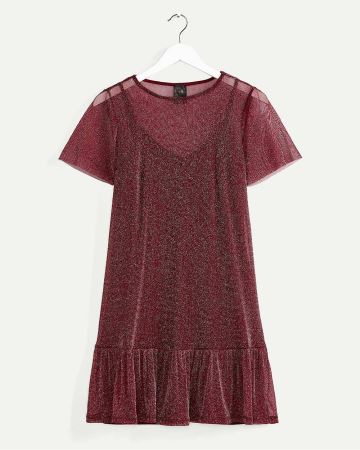 Short Sleeve Shimmer Dress
