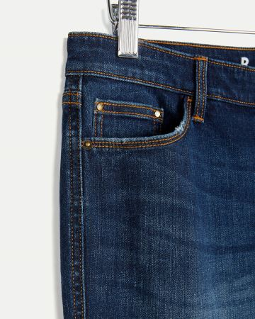 Denim Bermuda Shorts with Rolled Hem