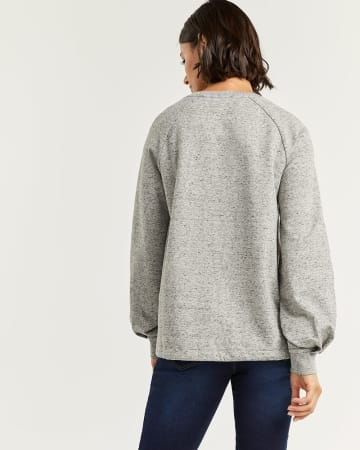 Cotton-Blend French Terry Sweater with Drawstring