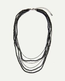 Multi Row Necklace with Chains and Faceted Beads